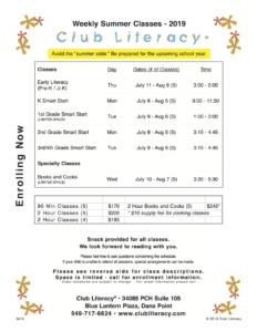 Class Schedule 2019-04-13