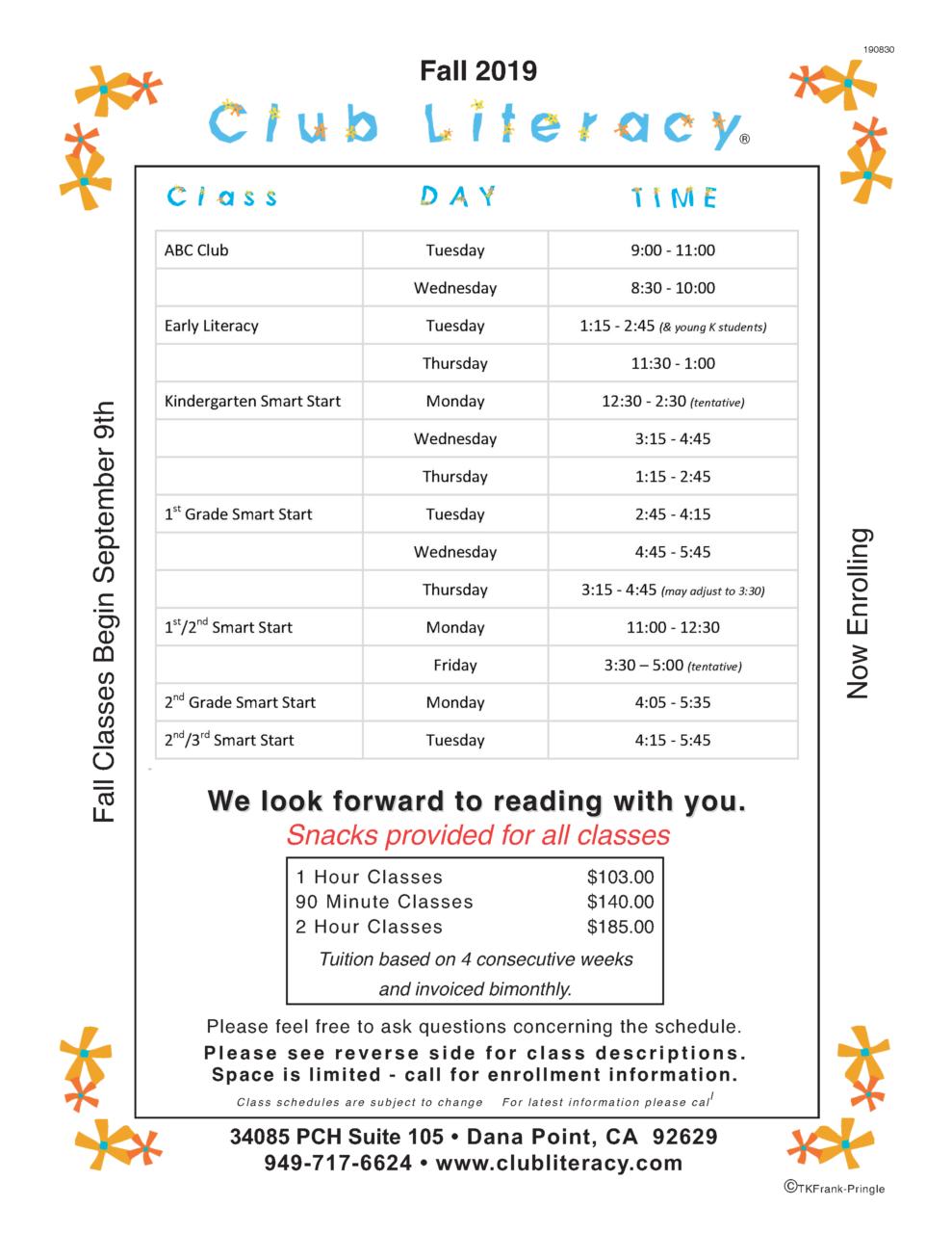 Club Literacy Fall Schedule 2019